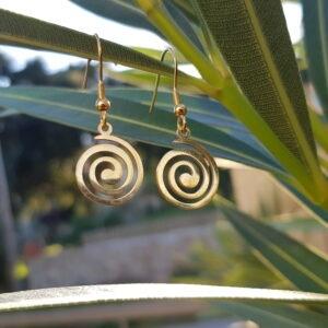 Pendientes espiral dorada